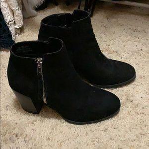 Black suede botties